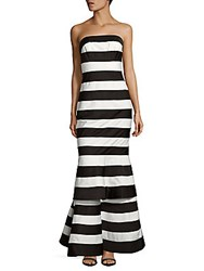 Kay Unger Striped Off The Shoulder Gown Black White