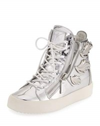 Giuseppe Zanotti Men's Leather High Top Sneaker With Wings Gray