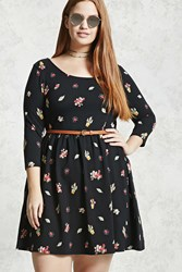 Forever 21 Plus Size Fit And Flare Dress Black Yellow
