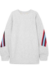 Facetasm Embroidered Ribbed Trimmed Jersey Sweatshirt Light Gray