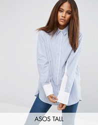 Asos Tall Oversized Stripe Shirt With Contrast Batwing Sleeve Blue White Stripe Multi