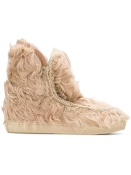 Mou Inner Wedge Fur Boots Pink And Purple
