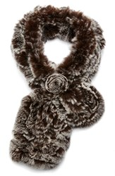 Women's Dena Ruffled Genuine Rex Rabbit Fur Scarf