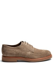 Brunello Cucinelli Lace Up Suede Brogues Beige