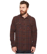 Rvca Camino Flannel Long Sleeve Shirt Dark Chocolate Men's Long Sleeve Button Up Brown
