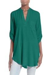 Women's Lush 'Perfect' Roll Tab Sleeve Tunic New Emerald
