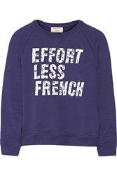 Maison Kitsune Effortless French Printed Cotton Terry Sweatshirt Blue