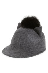 Women's Helene Berman Genuine Fox Fur Pompom Wool Cap