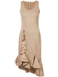 Givenchy Sleeveless Ruffle Dress Wool Nude Neutrals
