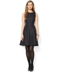 American Living Jacquard Fit And Flare Dress Black