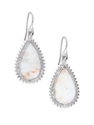Eddie Borgo White Lace Agate And Pave Crystal Small Studded Teardrop Earrings Silver