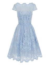 Chi Chi London Baroque Style Tea Dress Blue