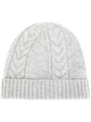 N.Peal Cable Knit Beanie Cashmere Grey