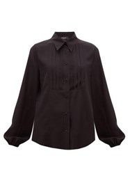 Rochas Pintucked Front Silk Blouse Black