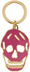 Alexander Mcqueen Purple And Gold Cut Out Skull Keychain