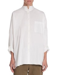 Brunello Cucinelli Oversized Button Front Blouse White