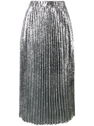 Philosophy Di Lorenzo Serafini Sequinned Pleated Skirt Silver