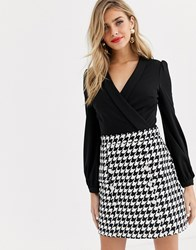 Lipsy 2 In 1 Keyhole Front Aline Dress In Black Dogtooth Multi
