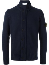 Stone Island High Standing Collar Cardigan Blue
