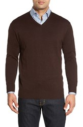 Peter Millar Men's Silk Blend V Neck Sweater Bison