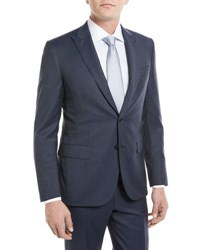 Brioni Herringbone Two Piece Wool Suit Navy