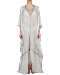 Flora Bella Sonder V Neck Long Kaftan W Lace White