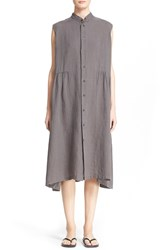 Eskandar Sleeveless Gathered Linen Shirtdress Elephant