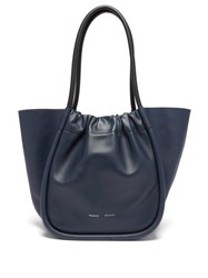 Proenza Schouler Ruched L Leather Tote Bag Navy