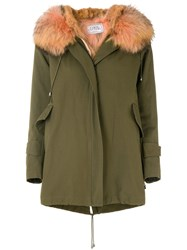 Forte Couture New Gala Military Coat Cotton Raccoon Dog Green
