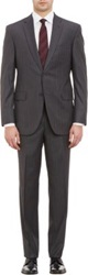 Barneys New York Pin Dot Stripe Two Button Suit Grey