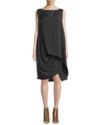 Urban Zen Draped Viscose Silk Parachute Dress Black