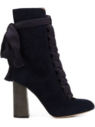 Chloe Lace Up Boots Blue
