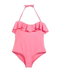 Milly Minis Ruffle Top One Piece Swimsuit Size 8 14 Pink