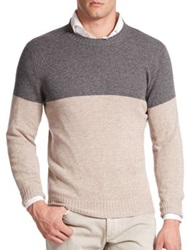 Brunello Cucinelli Colorblock Cashmere Sweater Grey Ivory