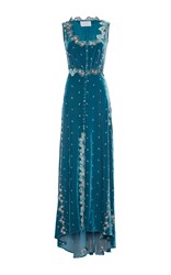 Luisa Beccaria Embroidered Velvet Dress With Buttons Blue