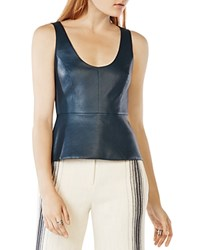 Bcbgmaxazria Cladiana Faux Leather Peplum Top Midnight Teal