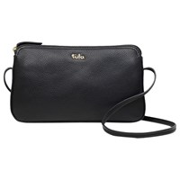 Tula Originals Pebbled Leather Cross Body Zip Bag Pebble Black