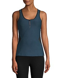 X By Gottex Open Zip Fitted Tank Top Peacock
