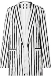 Alice Olivia Kylie Striped Cotton Blend Twill Blazer Black Usd