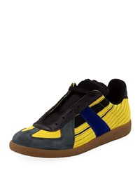 Maison Martin Margiela Replica Colorblock Leather Low Top Sneakers Yellow