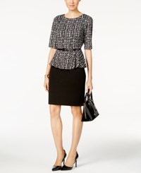 Connected Belted Tweed Peplum Sheath Dress Black White