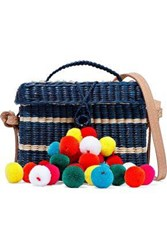 Nannacay Woman Baby Roge Pompom Embellished Striped Woven Straw Shoulder Bag Navy