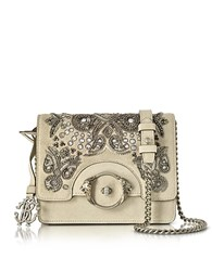 Roberto Cavalli Skin Suede Crossbody Bag W Embroidered Beads Nude