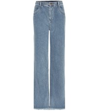 Chloe Frayed Wide Leg Jeans Blue