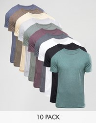 Asos 10 Pack T Shirt With Crew Neck Multi