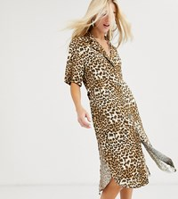 Reclaimed Vintage Inspired Oversized Midi Shirt Dress In Leopard Print Multi