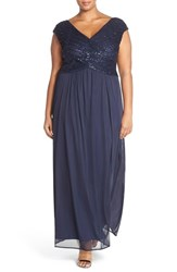 Plus Size Women's Sangria Surplice Bodice Lace And Chiffon Gown