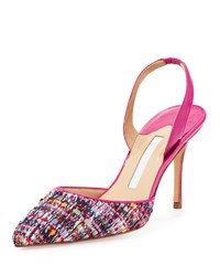 Manolo Blahnik Carolyne Tweed High Heel Halter Pump Pink Women's