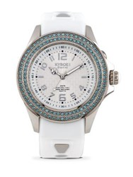 Kyboe Radiant Clarity Swarovski Crystal And Silicone Strap Watch White