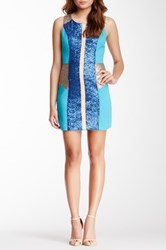 Champagne And Strawberry Glitter Colorblock Dress Blue